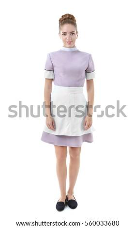 Boldog fiatal szoba szobalány egyenruha kötény Stock fotó © pressmaster