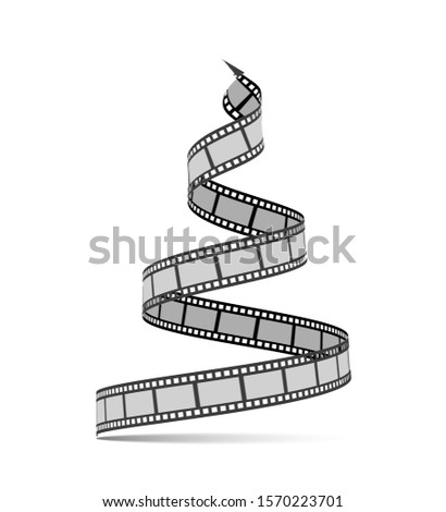 Film strip in the form of a Christmas tree. Film reel. Happy New Year for photographers, videographe Stock photo © m_pavlov