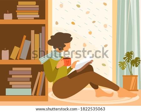 Woman at the window autumn Vector flat style. Fall season lifestyles Stock photo © frimufilms