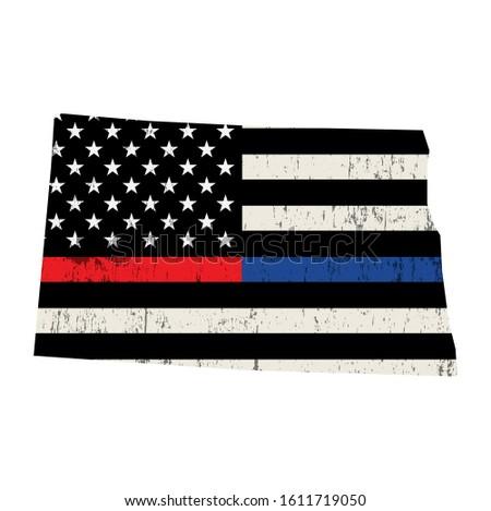 North Dakota policji strażak wsparcia banderą amerykańską flagę Zdjęcia stock © enterlinedesign