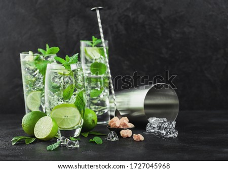 Luxe verres mojito cocktail menthe Photo stock © DenisMArt