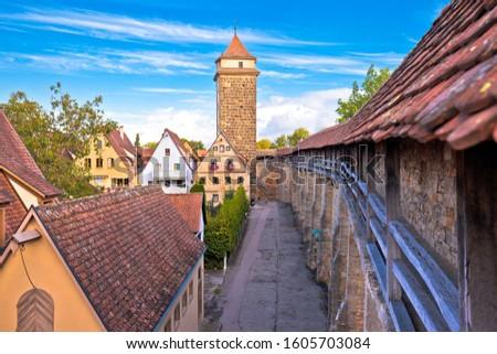 Rothenburg ob der Tauber. Cobbled colorful street and architectu Stock photo © xbrchx