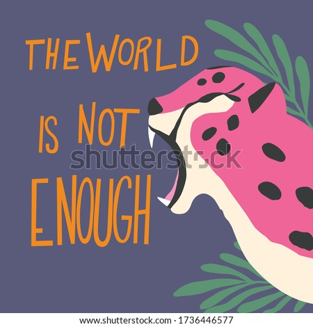 Cute exotic wild big cat pink cheetah roaring on purple background with hand lettering message the w Stock photo © BlueLela