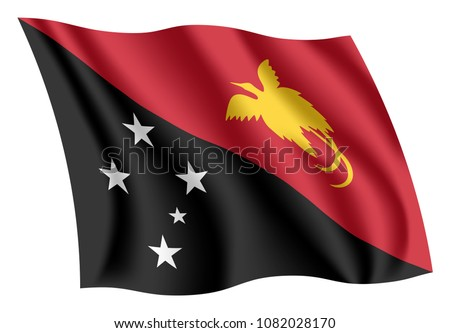 Papua New Guinea flag, vector illustration on a white background Stock photo © butenkow