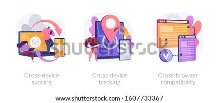 クロス プラットフォーム ベクトル メタファー 接続 ストックフォト © RAStudio