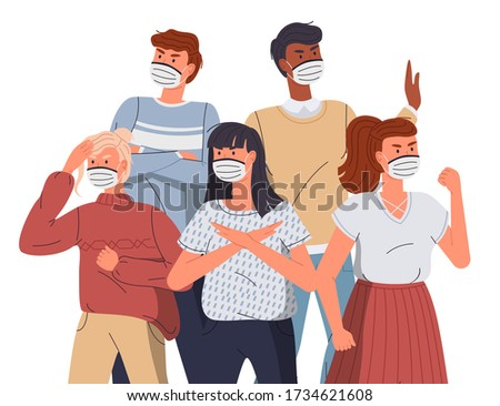 Woman in respiratory medical mask call to fight with virus, concept of world epidemy of covid19 Stock photo © robuart
