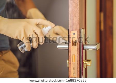 予防 男 ドアノブ クローズアップ 白人 ドア ストックフォト © galitskaya
