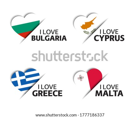Set of four Bulgarian, Cyprus, Greek and Malta heart shaped stickers. Made in Bulgary, Cyprus, Greec Stock photo © kurkalukas