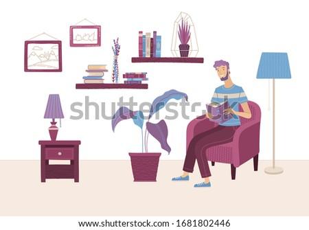 Pobyt domu relaks facet posiedzenia fotel Zdjęcia stock © robuart
