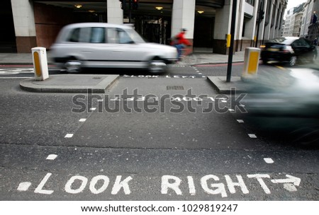 Look Right warning at a pedestrian crossing in a London street Stock photo © 5xinc