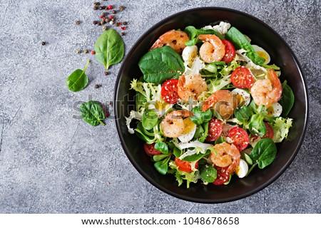 морепродуктов Салат овощей рыбы фон листьев Сток-фото © olira