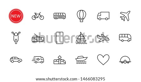 Set stickers transport icons stock photo © Ecelop