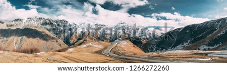 Stock photo: panorama of winter mountains caucasus mountains georgia regio