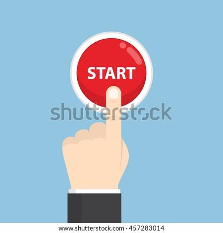 man · start · knop · hand · technologie - stockfoto © ra2studio