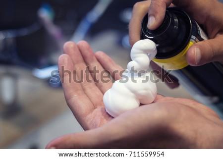 caucasiano · homem · barbear · banheiro · casa - foto stock © wavebreak_media