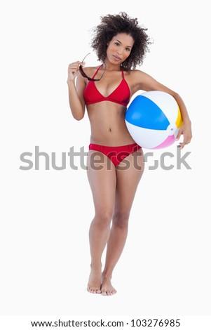 笑みを浮かべて 若い女性 ビーチボール 白 セクシー ストックフォト © wavebreak_media