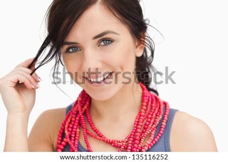 glimlachend · brunette · vrouw · Rood · blouse · armen - stockfoto © wavebreak_media