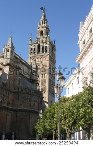 City View from Giralda Tower Seville Cathedral Garden Bull Ring  Stock photo © billperry