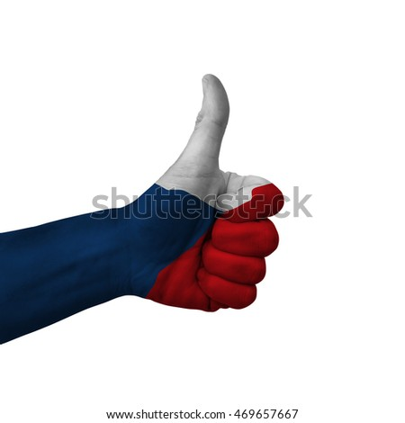 Tsjechisch vlag duim omhoog gebaar uitmuntendheid Stockfoto © vepar5