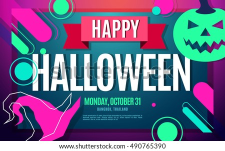 Stock photo: Template Halloween party bright colorful pumpkins creative backg
