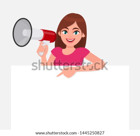 Megaphone Character With Copyspace Shows Announcements Proclaimi Stock photo © stuartmiles