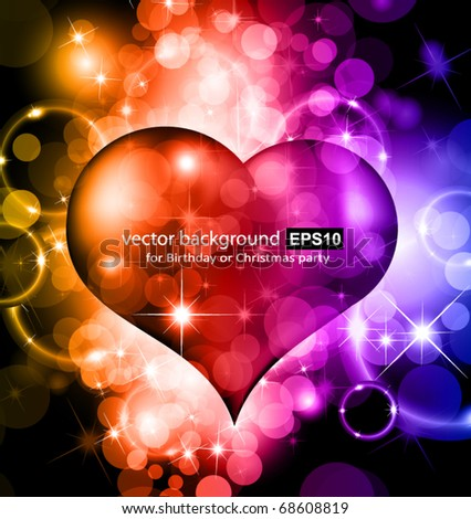 happy valentines day card shiny heart for wave colorful vector stock photo © bharat