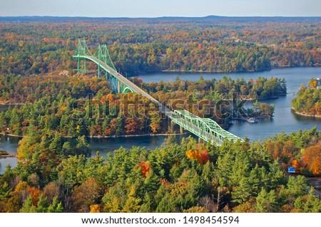 suspension bridge across a river thousand islands bridge saint stock photo © bmonteny