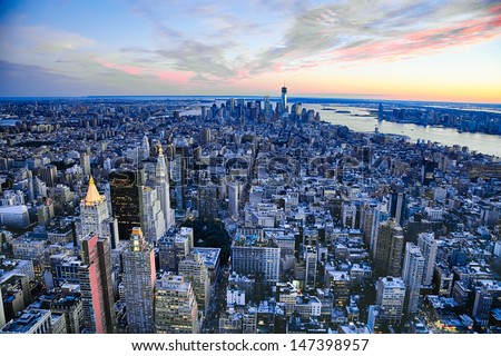 Stock photo: The New York City manhattan w the Freedom tower and New Jersey