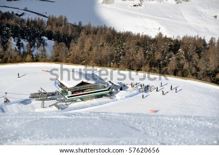 View down ski slope on chairlift station, valley and impressive mountains Stock photo © franky242