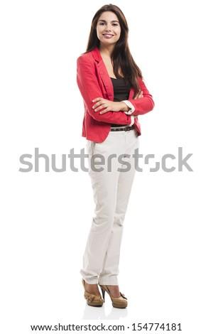 улыбаясь деловая женщина оружия сложенный изолированный белый Сток-фото © deandrobot