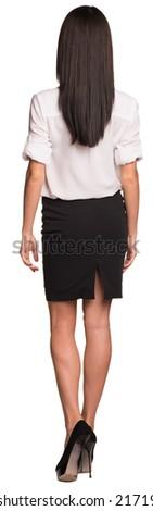 美しい 女性実業家 シャツ スカート 背面図 レンガの壁 ストックフォト © cherezoff