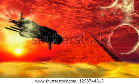 UFO űrhajó repülés piramis fantázia idegen Stock fotó © ankarb