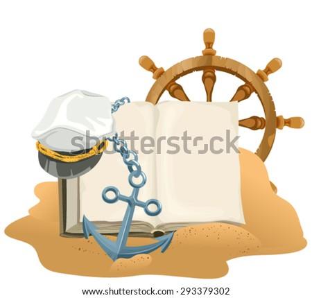 Sea Adventure. Open book, anchor, captain cap and wheel lying on sand Stock photo © orensila
