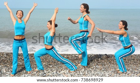 joyful woman wearing sporty clothers is making exercise on sea coast she is squating stock photo © paha_l