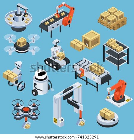 Robot with parcel. Global delivery service. Isolated with clipping path Stock photo © Kirill_M