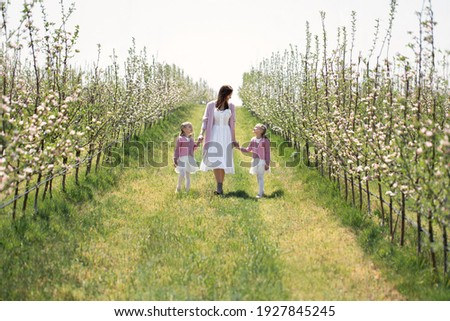 Young family in summer garden. Mum holds daughter on hands. Man embraces them. Stock photo © Paha_L