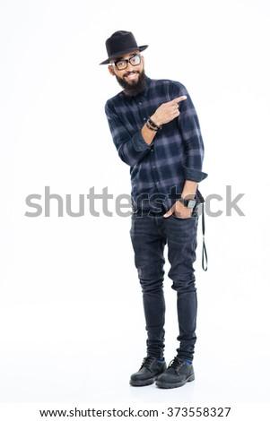 Mosolyog hideg szakállas afrikai férfi szemüveg Stock fotó © deandrobot