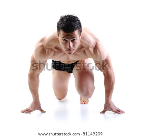 The Perfect male body - Awesome bodybuilder posing with dumbbells Stock photo © zurijeta