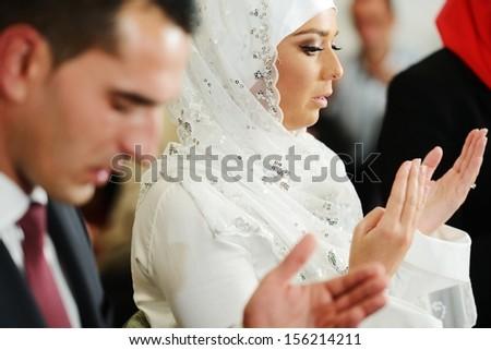 muslim · sposa · lo · sposo · moschea · cerimonia · di · nozze · donna - foto d'archivio © zurijeta