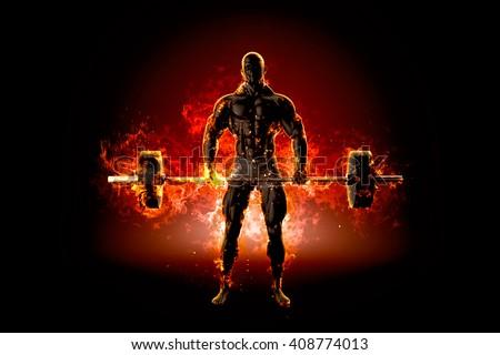 Muskularny kulturysta sztanga ognia 3D 3d ilustracji Zdjęcia stock © Kirill_M