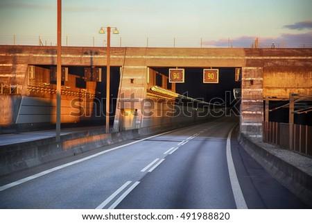 Wejście tunelu most Szwecja Dania działalności Zdjęcia stock © vladacanon