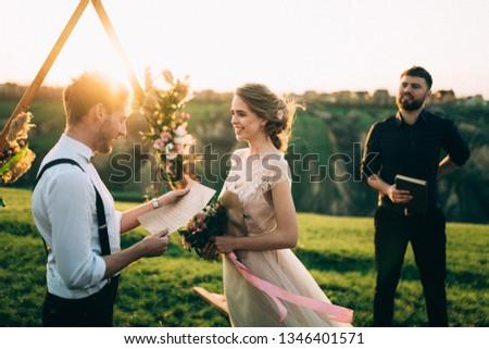 Свадебная · церемония · украшение · морем · закат · стульев - Сток-фото © victoria_andreas