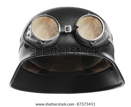 Retro military helmet isolated. Vintage Army cap on white backgr Stock photo © popaukropa
