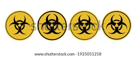 bioveszély · felirat · izolált · fehér · háttér · citromsárga - stock fotó © popaukropa