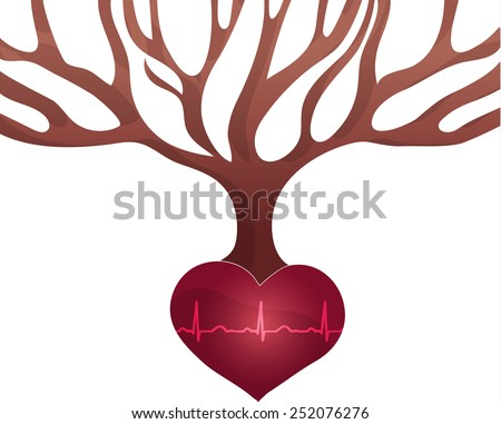 abstract tree with roots of heart shape and normal heart beat rh stock photo © tefi