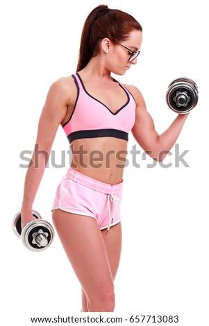 mulher · rosa · calção · tapete - foto stock © nobilior