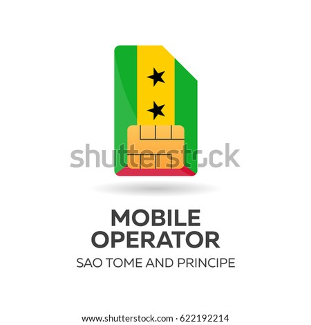 Sao Tome and Principe mobile operator. SIM card with flag. Vector illustration. Stock photo © Leo_Edition