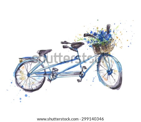 Retro blue silhouette tandem bicycle isolated on a white backgro Stock photo © NikoDzhi