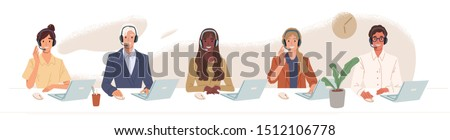 vector illustration of smiling telephone operator isolated on wh stock photo © nikodzhi