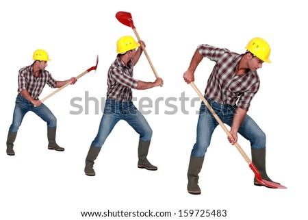 Worker with shovel. Worker in helmet and blue overall. Three wor Stock photo © MaryValery